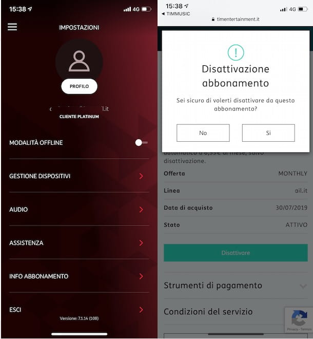 Disattivare TIMMUSIC da app
