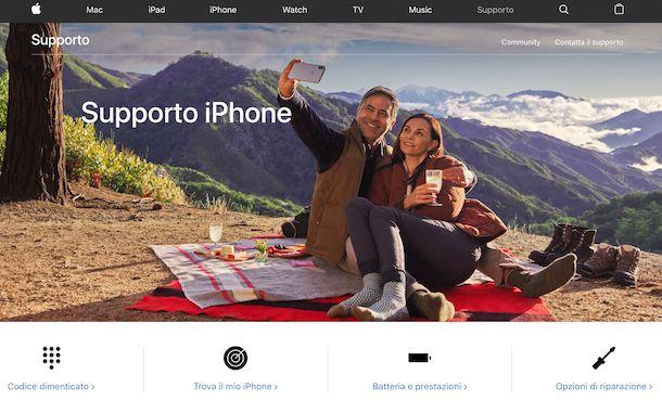 Screenshot della pagina Web dedicata al supporto per iPhone