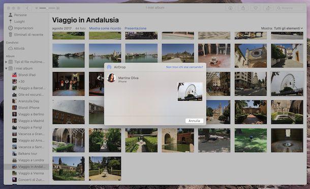 Screenshot che mostra come condividere contenuti con AirDrop