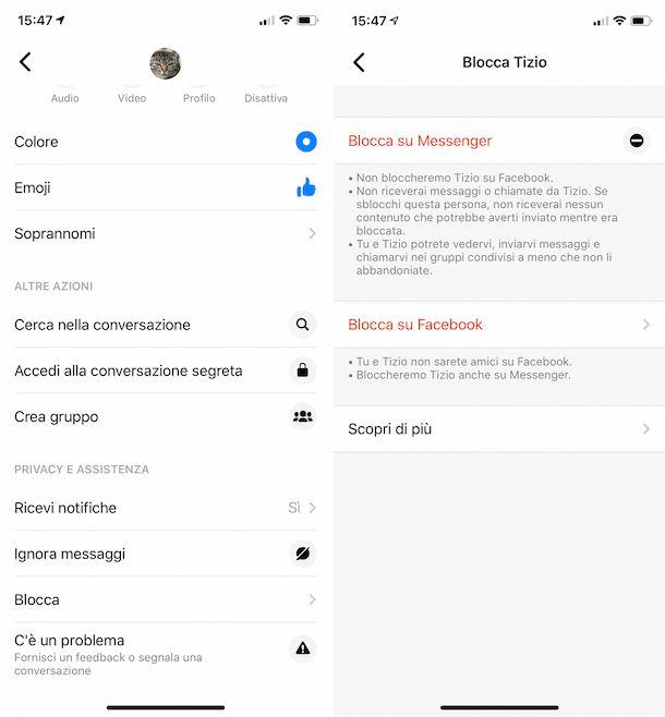 Blocco contatti su Messenger