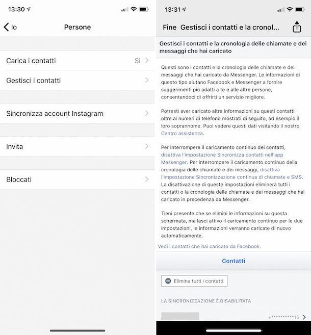 Cancellazione elenco contatti su Messenger