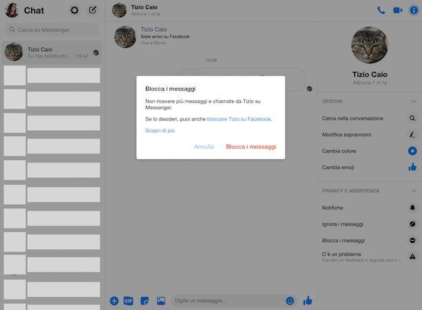 Blocco contatti Messenger Web