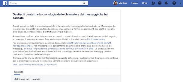 Cancellazione elenco contatti Messenger da Facebook