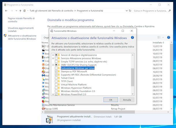 Disattivare Bash shell di Ubuntu su windows 10