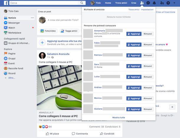 Suggerimenti di amicizia su Facebook Web