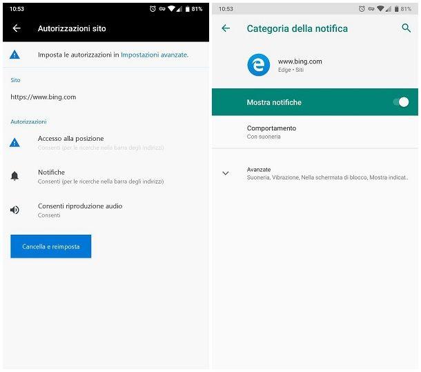 Come disattivare le notifiche di un sito su smartphone e tablet - Microsoft Edge