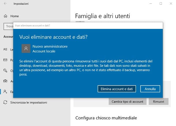 Come eliminare amministratore PC Windows 10