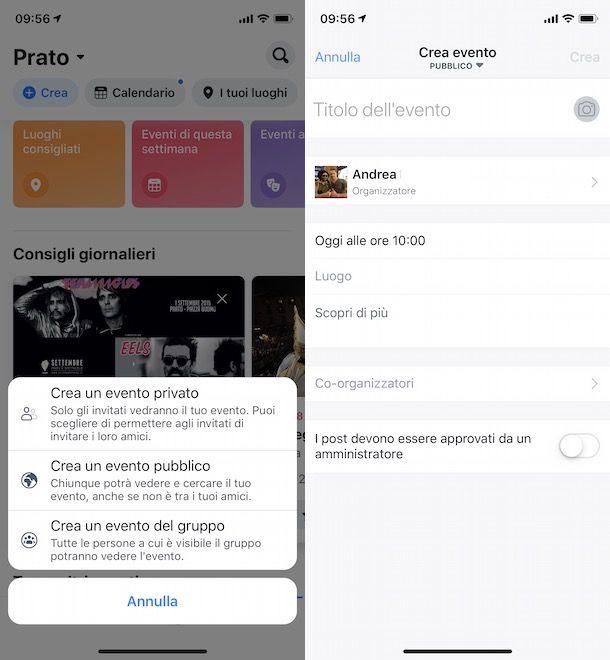 Creare evento Facebook da smartphone e tablet