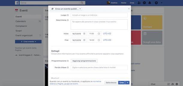 Evento Facebook da computer