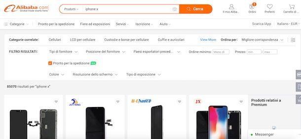 Filtri di ricerca su Alibaba