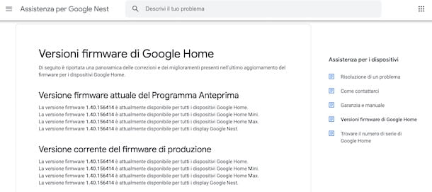 Verificare firmware Google Home