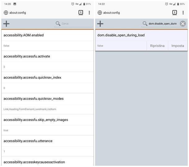 Impostare il blocco dei popup nel browser