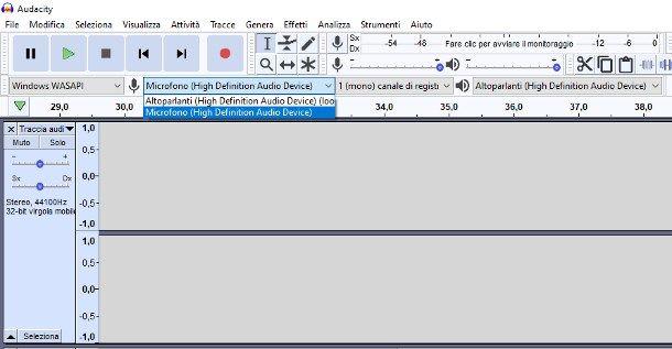 Come registrare con Audacity da microfono