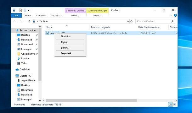 recuperare screenshot dal Cestino di Windows