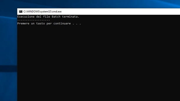 schermata del prompt di Windows di file BAT