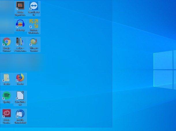 Togliere tutte le icone dal desktop di Windows 10