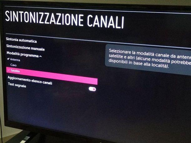 Sintonizzare i canali su TV LG