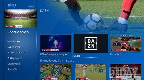 Come vedere DAZN in TV con Sky