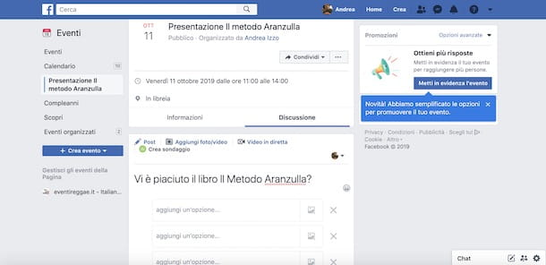Contenuti evento Facebook