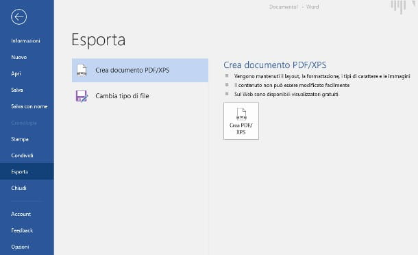 Salvare la tesi in PDF