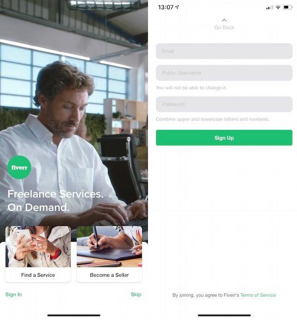 Vendere su Fiverr da smartphone e tablet