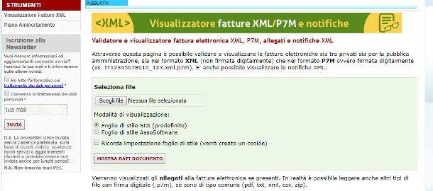 Come aprire file XML fattura elettronica online