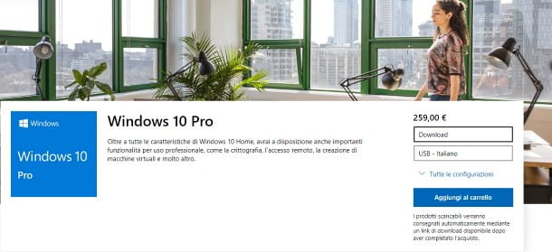 Costo per passare da Windows 10 Home a Pro
