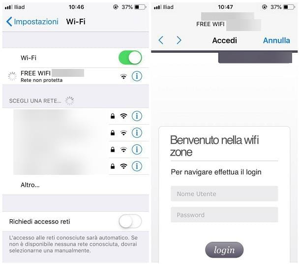 Come connettersi a una rete Wi-Fi pubblica - iOS