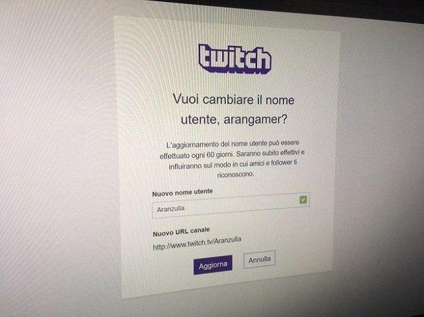 Cambiare nome Twitch da telefono