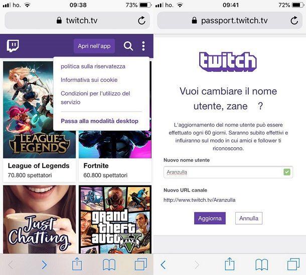 Come cambiare nome su Twitch da iPhone