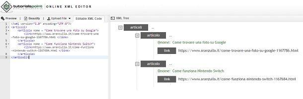 Come creare file XML Online