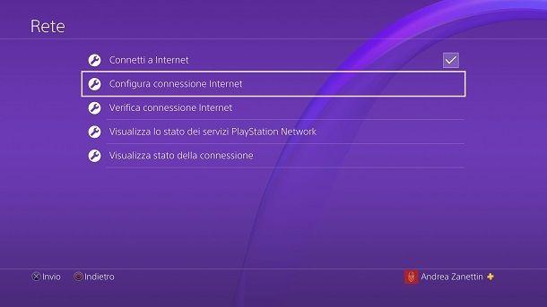 Configura connessione Internet PlayStation 4