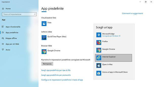 Impostazione browser predefinito in Windows 10