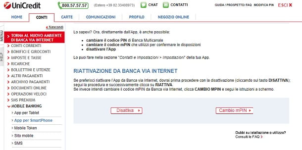 Disattiva App Unicredit PC