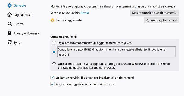 Impostazioni aggiornamenti Firefox