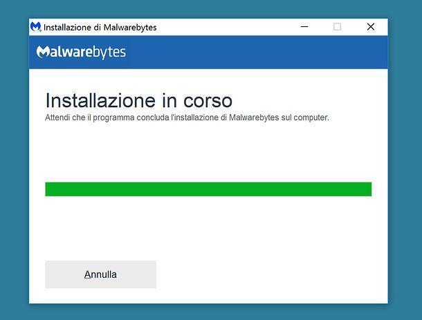 Installazione Malwarebytes Anti-malware su Windows