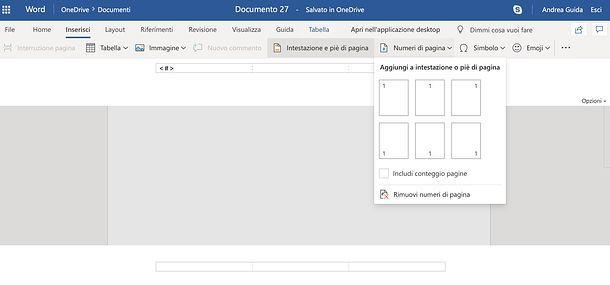 Come mettere numeri di pagina in Word Online