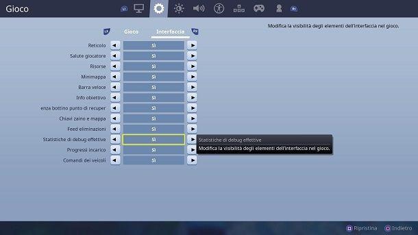 Statistiche debug effettive Fortnite PS4