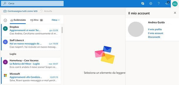 Come uscire da Outlook.com