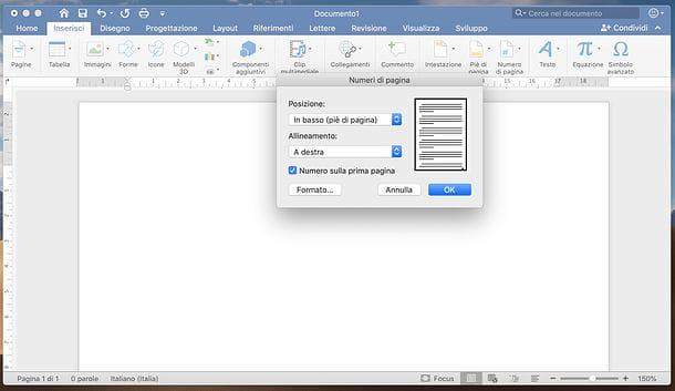 Come mettere numeri di pagina in Word per Mac