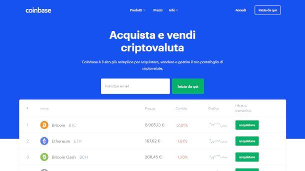 Schermata di Coinbase
