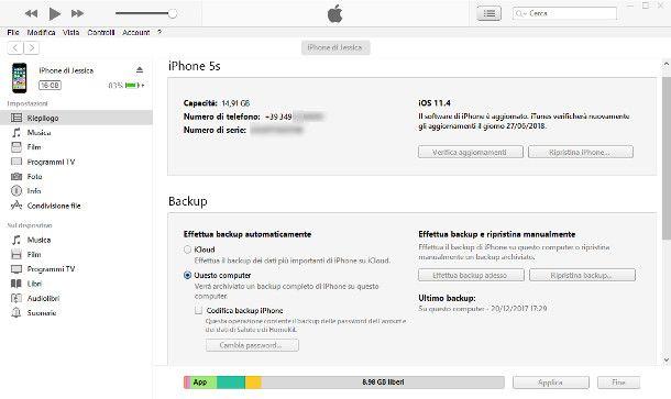 Creare il backup con iTunes