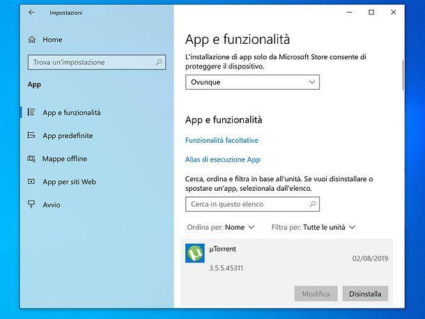 Disinstallare un programma da Windows 10
