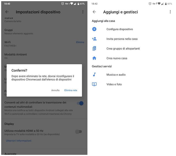 Come configurare rete WiFi su Chromecast