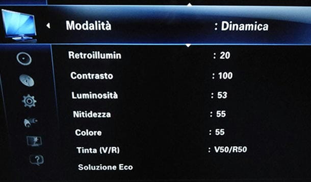 TV Samsung, elenco voce menu Immagine