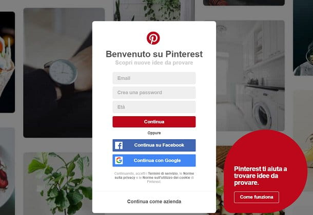Form di registrazione a Pinterest