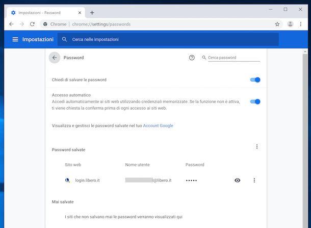 Recupero indirizzo email Libero da Chrome