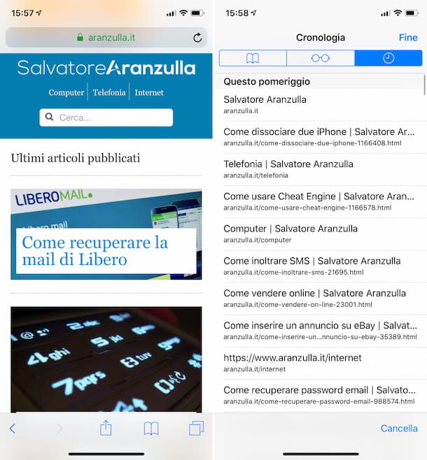 Cronologia Safari su iPhone
