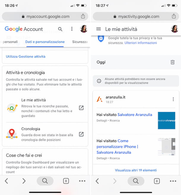 Cronologia Google su iPhone