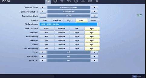 Impostazioni FPS su Fortnite PS4